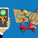 cartoon image of guy on bike delivering pizza