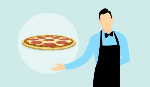 illustrated image of man with pizza